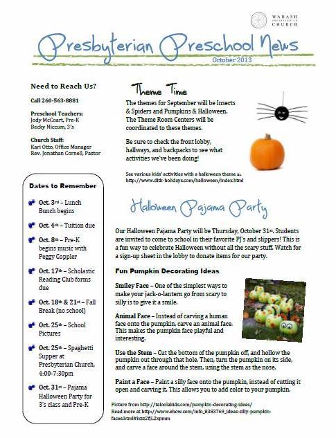 October 2013 Preschool Newsletter « Wabash Presbyterian Church