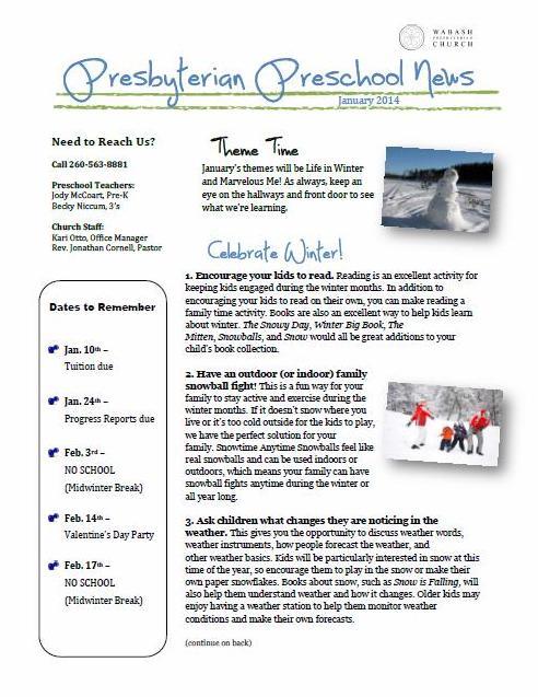 Preschool Newsletter January 2014 Wabash Presbyterian Church