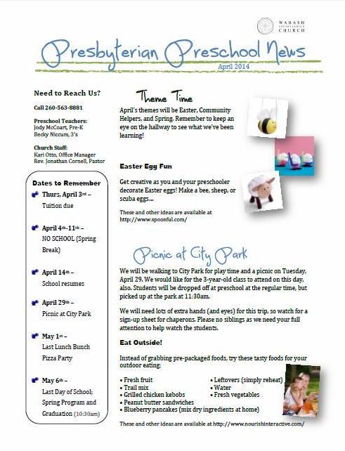 preschool april newsletter preschool newsletter april 2014 171 wabash presbyterian church 477