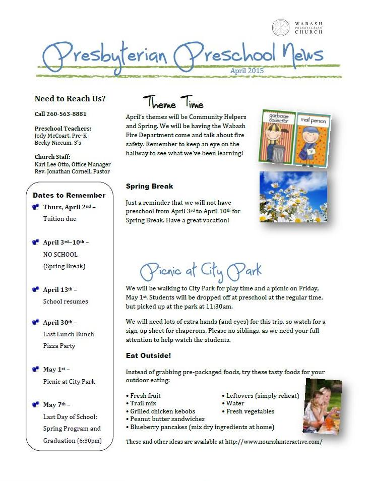 Preschool Newsletter April 2015 171 Wabash Presbyterian Church