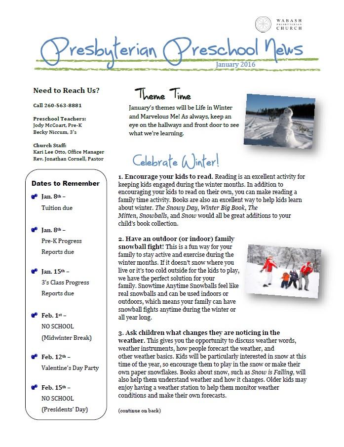 January 2016 Calendar Winter Theme | Calendar Template 2016