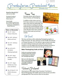Preschool Newsletter 11.2016