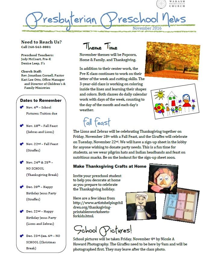 preschool newsletter 112016