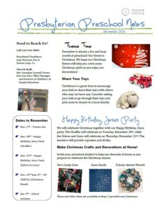 Preschool Newsletter 12.2016