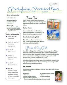 Preschool Newsletter 04.2017